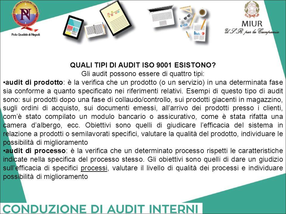 QUALI TIPI DI AUDIT ISO 9001 ESISTONO? Gli audit possono essere di quattro tipi: audit di prodotto: è la verifica che un prodotto (o un servizio) in u