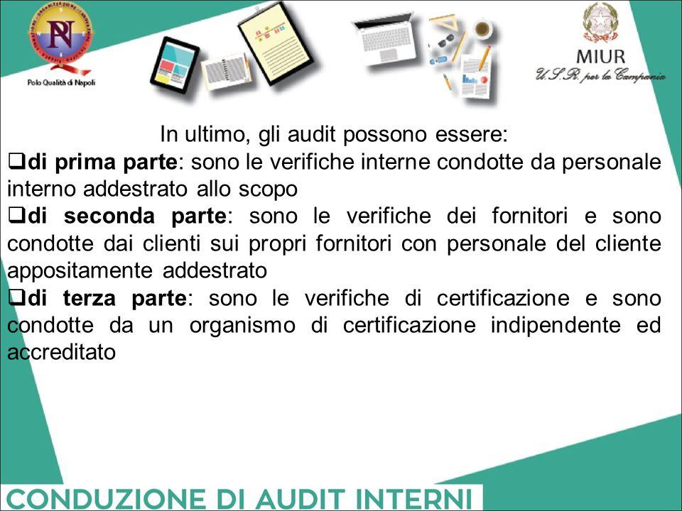 In ultimo, gli audit possono essere:  di prima parte: sono le verifiche interne condotte da personale interno addestrato allo scopo  di seconda part