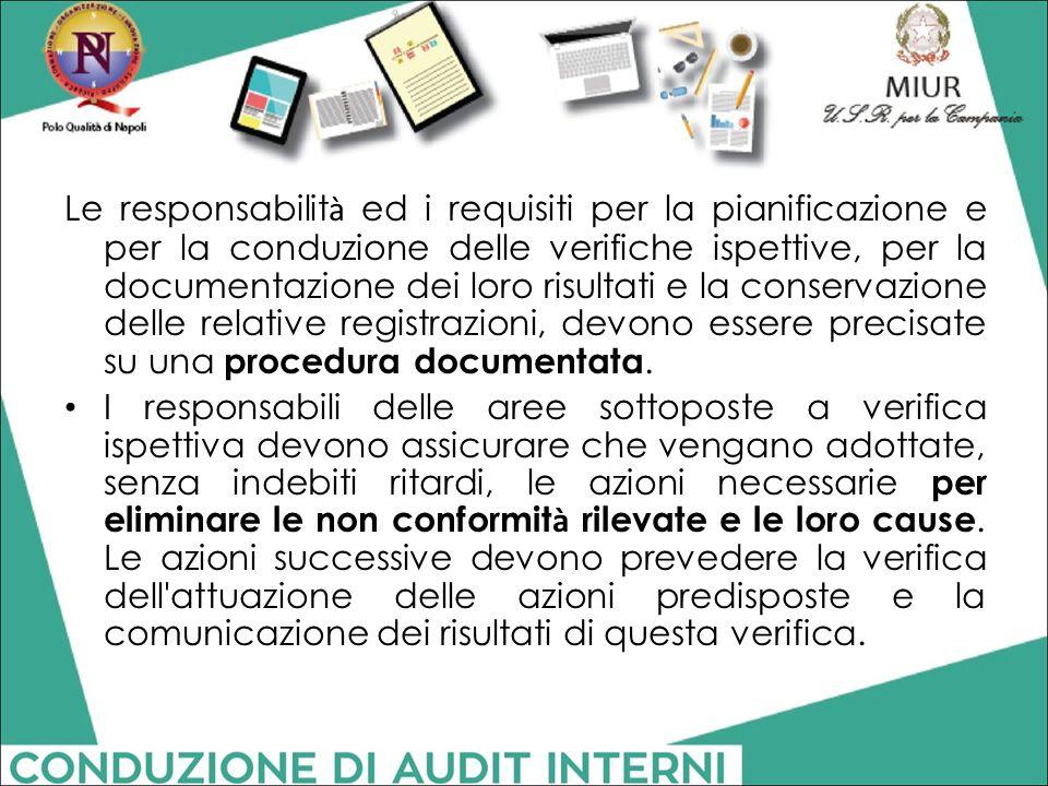Le responsabilit à ed i requisiti per la pianificazione e per la conduzione delle verifiche ispettive, per la documentazione dei loro risultati e la c