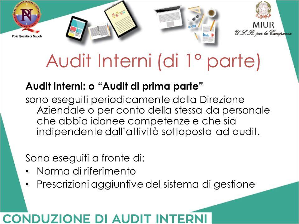 """Audit Interni (di 1° parte) Audit interni: o """"Audit di prima parte"""" sono eseguiti periodicamente dalla Direzione Aziendale o per conto della stessa da"""