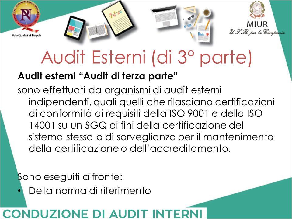 """Audit esterni """"Audit di terza parte"""" sono effettuati da organismi di audit esterni indipendenti, quali quelli che rilasciano certificazioni di conform"""
