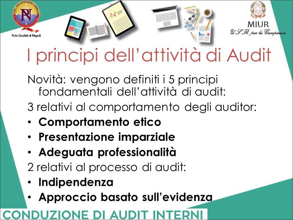 I principi dell'attività di Audit Novità: vengono definiti i 5 principi fondamentali dell'attività di audit: 3 relativi al comportamento degli auditor
