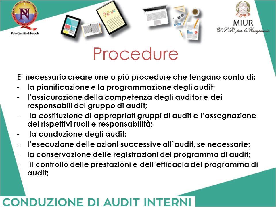 Procedure E' necessario creare une o più procedure che tengano conto di: - la pianificazione e la programmazione degli audit; - l'assicurazione della