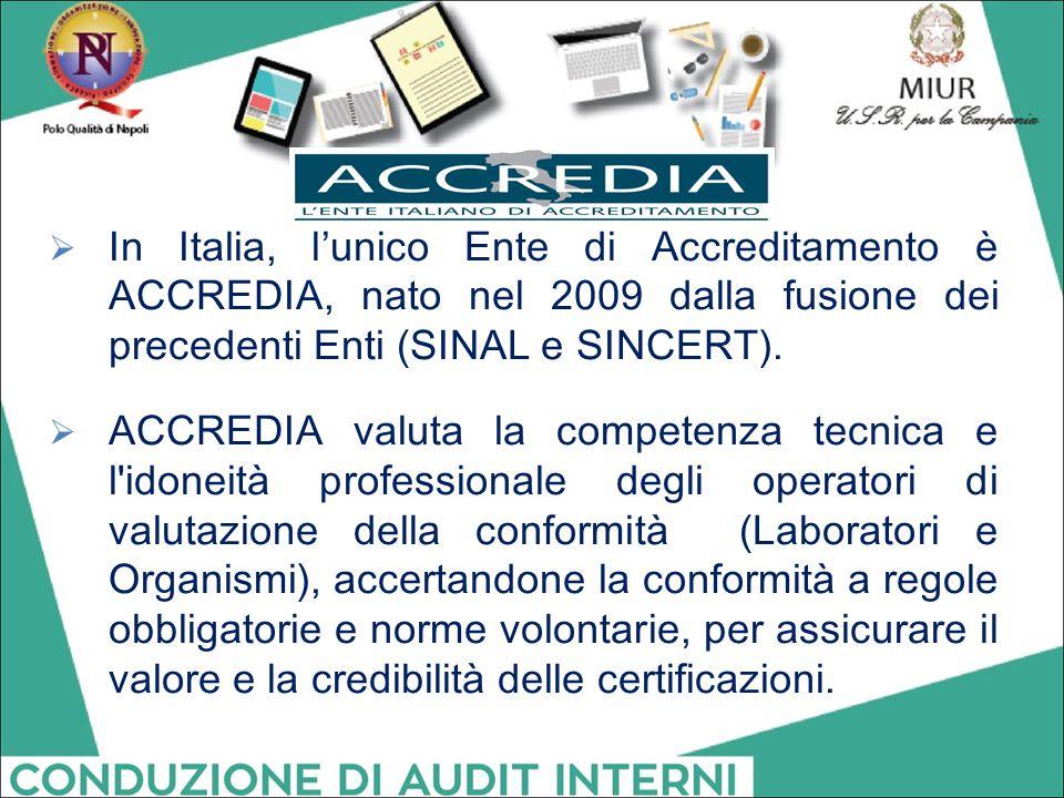  In Italia, l'unico Ente di Accreditamento è ACCREDIA, nato nel 2009 dalla fusione dei precedenti Enti (SINAL e SINCERT).  ACCREDIA valuta la compet