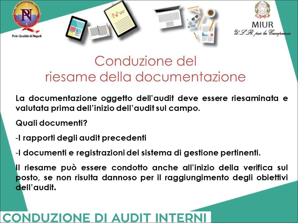 Conduzione del riesame della documentazione La documentazione oggetto dell'audit deve essere riesaminata e valutata prima dell'inizio dell'audit sul c