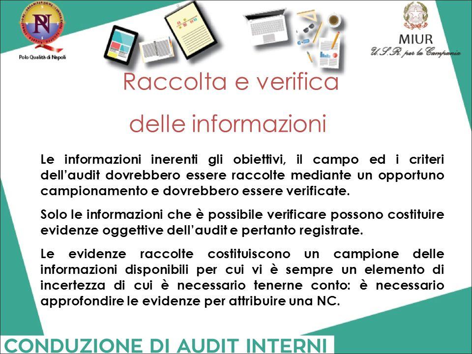 Raccolta e verifica delle informazioni Le informazioni inerenti gli obiettivi, il campo ed i criteri dell'audit dovrebbero essere raccolte mediante un