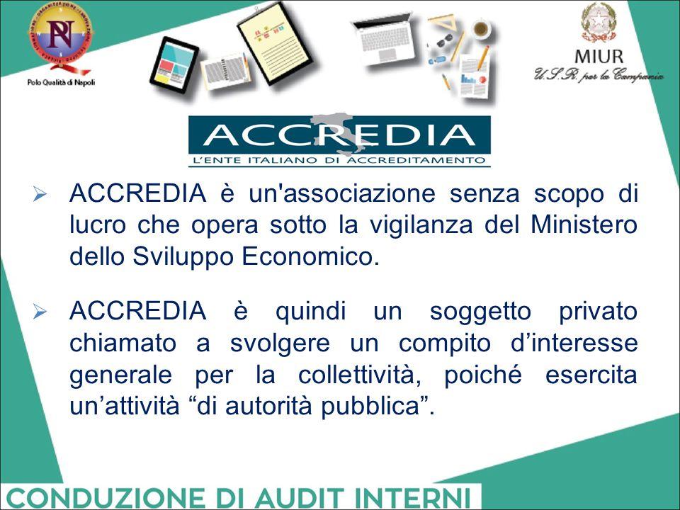  ACCREDIA è un'associazione senza scopo di lucro che opera sotto la vigilanza del Ministero dello Sviluppo Economico.  ACCREDIA è quindi un soggetto