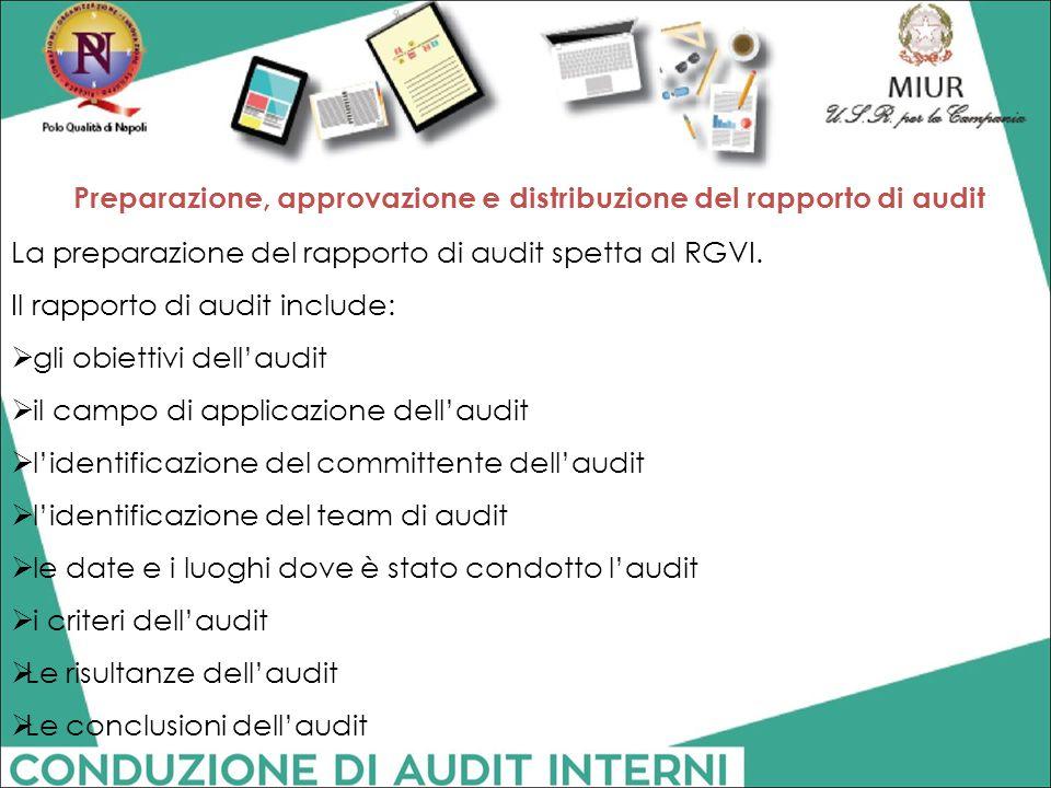 Preparazione, approvazione e distribuzione del rapporto di audit La preparazione del rapporto di audit spetta al RGVI. Il rapporto di audit include: 