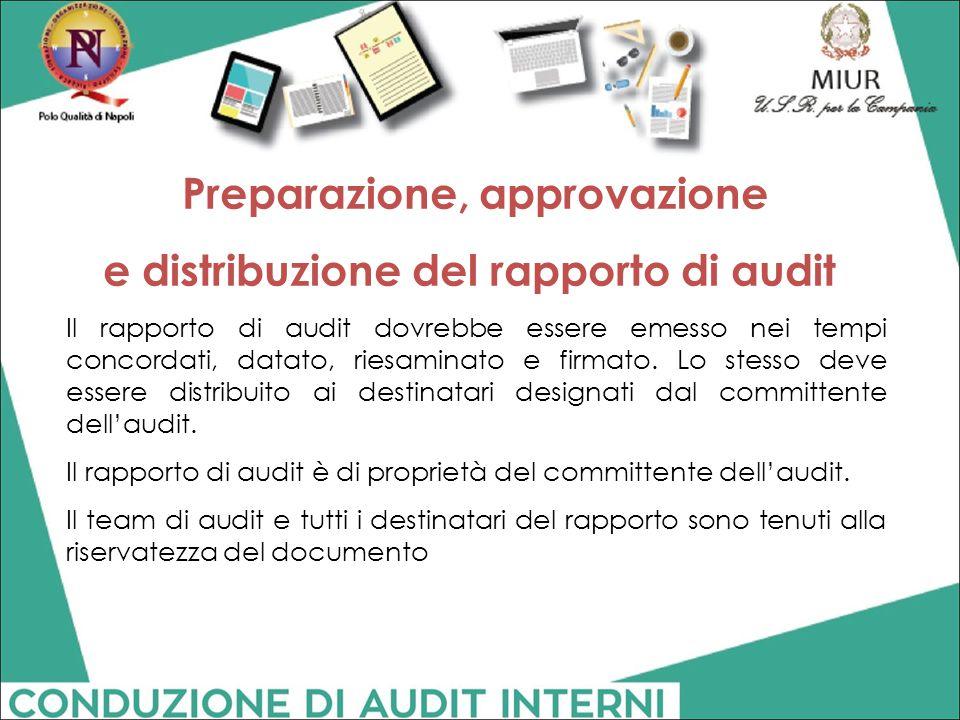 Il rapporto di audit dovrebbe essere emesso nei tempi concordati, datato, riesaminato e firmato. Lo stesso deve essere distribuito ai destinatari desi