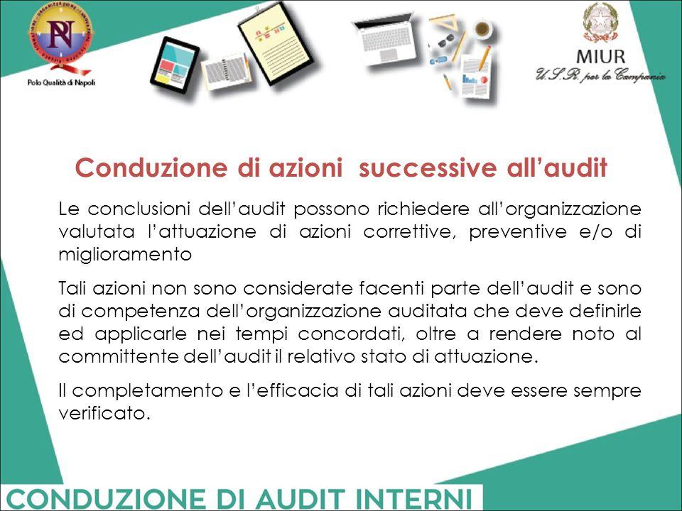 Conduzione di azioni successive all'audit Le conclusioni dell'audit possono richiedere all'organizzazione valutata l'attuazione di azioni correttive,