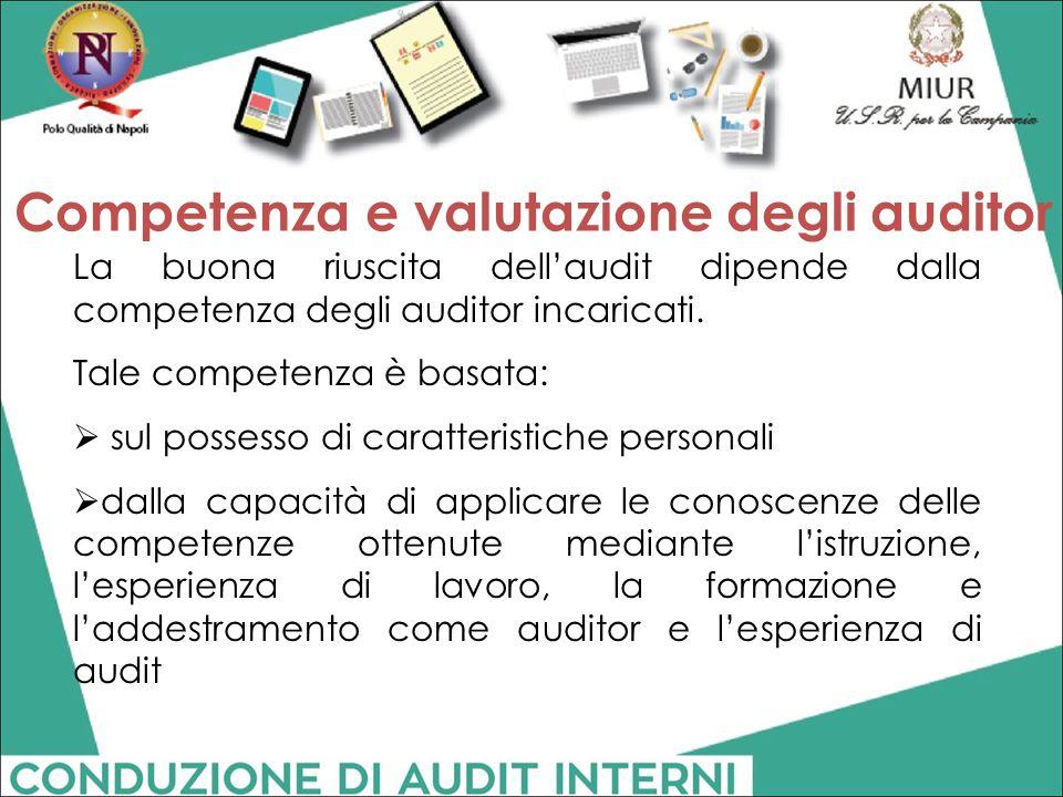 La buona riuscita dell'audit dipende dalla competenza degli auditor incaricati. Tale competenza è basata:  sul possesso di caratteristiche personali