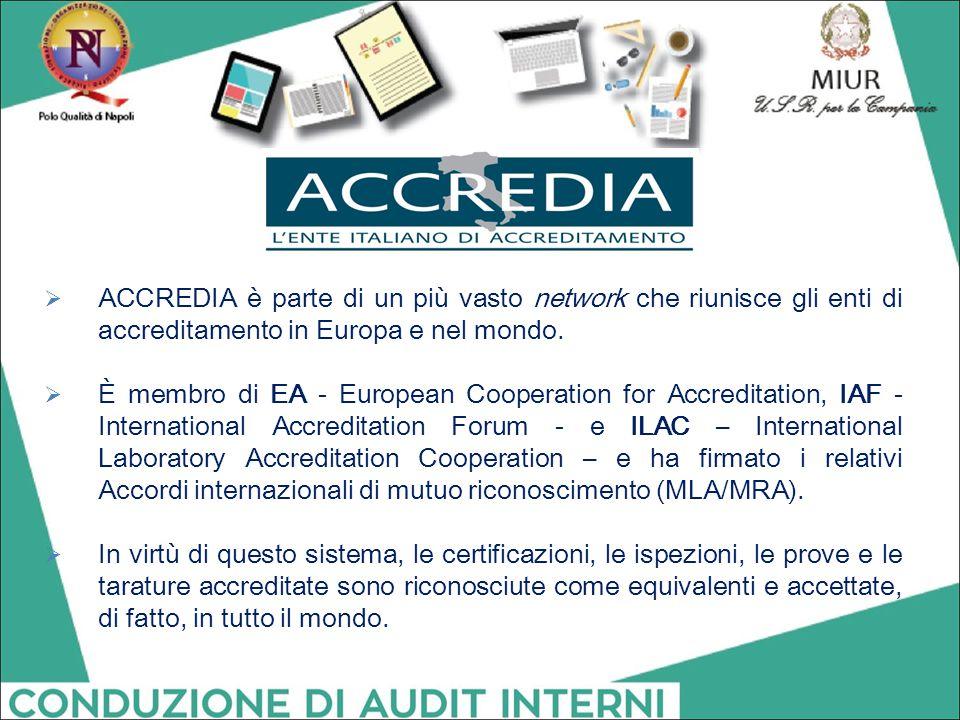  ACCREDIA è parte di un più vasto network che riunisce gli enti di accreditamento in Europa e nel mondo.  È membro di EA - European Cooperation for