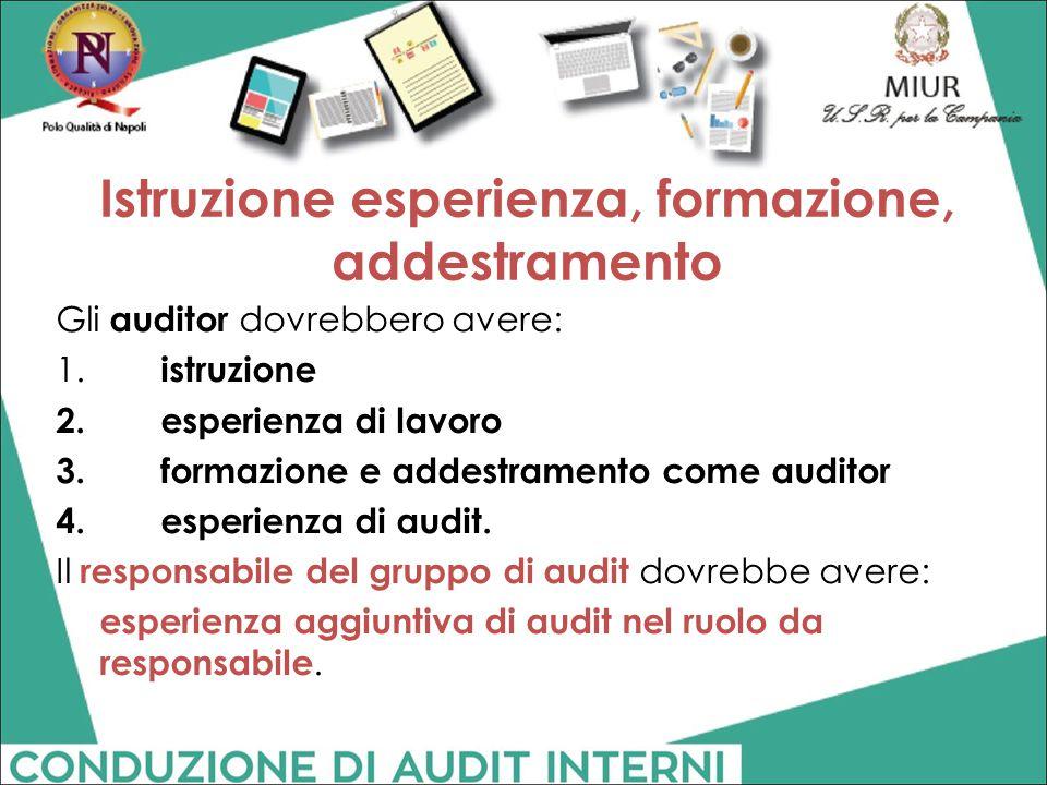 Istruzione esperienza, formazione, addestramento Gli auditor dovrebbero avere: 1. istruzione 2.esperienza di lavoro 3.formazione e addestramento come