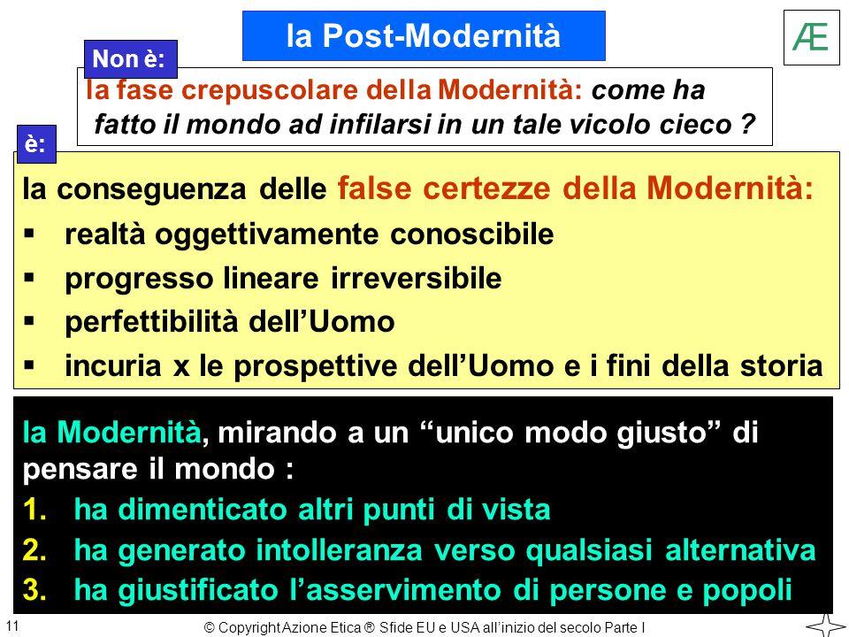 la Modernità, mirando a un unico modo giusto di pensare il mondo : 1.