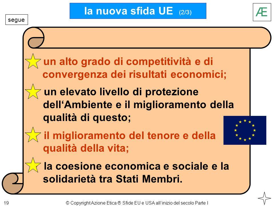 19 Æ un elevato livello di protezione dell'Ambiente e il miglioramento della qualità di questo; il miglioramento del tenore e della qualità della vita; la coesione economica e sociale e la solidarietà tra Stati Membri.