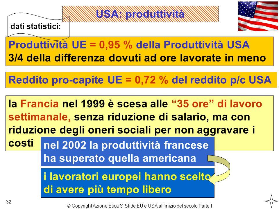 32 Produttività UE = 0,95 % della Produttività USA 3/4 della differenza dovuti ad ore lavorate in meno dati statistici: la Francia nel 1999 è scesa alle 35 ore di lavoro settimanale, senza riduzione di salario, ma con riduzione degli oneri sociali per non aggravare i costi nel 2002 la produttività francese ha superato quella americana Reddito pro-capite UE = 0,72 % del reddito p/c USA i lavoratori europei hanno scelto di avere più tempo libero USA: produttività © Copyright Azione Etica ® Sfide EU e USA all'inizio del secolo Parte I