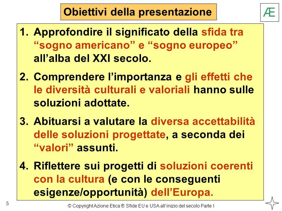 Italia - EU - USA 6 Non si può operare in Italia senza un occhio all'Europa Non si può operare in Europa senza un occhio agli USA Æ © Copyright Azione Etica ® Sfide EU e USA all'inizio del secolo Parte I