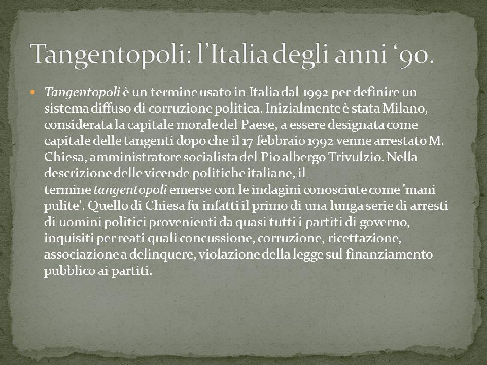 Tangentopoli è un termine usato in Italia dal 1992 per definire un sistema diffuso di corruzione politica.