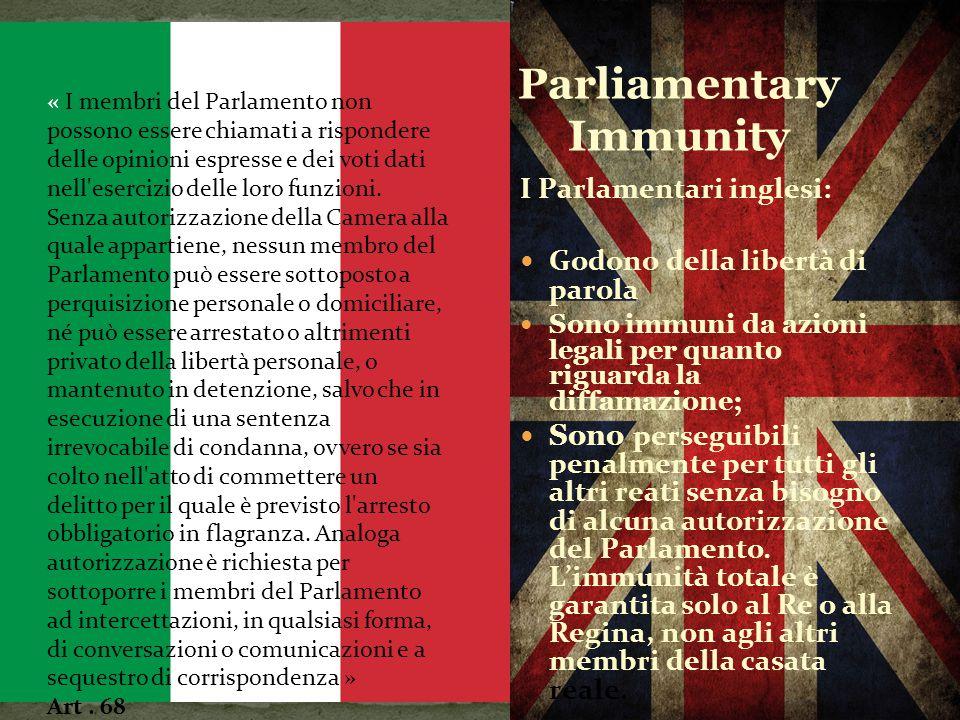 La maggior parte dei sistemi legali nazionali offre una doppia protezione per i membri del Parlamento: non-responsabilità per il voto e le opinioni es