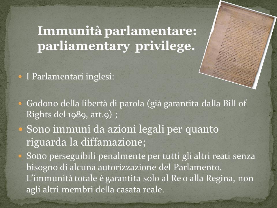 I Parlamentari inglesi: Godono della libertà di parola Sono immuni da azioni legali per quanto riguarda la diffamazione; Sono perseguibili penalmente