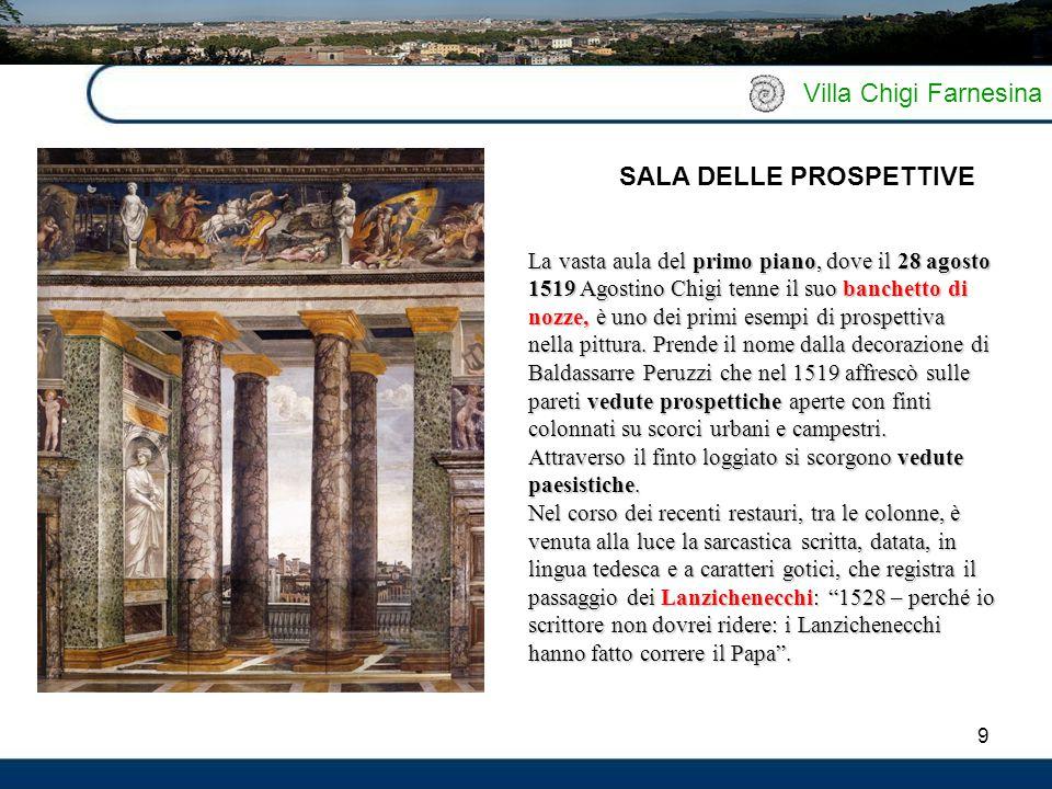 10 Villa Chigi Farnesina Così denominata dall'affresco principale, la stanza era in origine la camera da letto di Agostino Chigi che avrebbe accolto i novelli sposi.