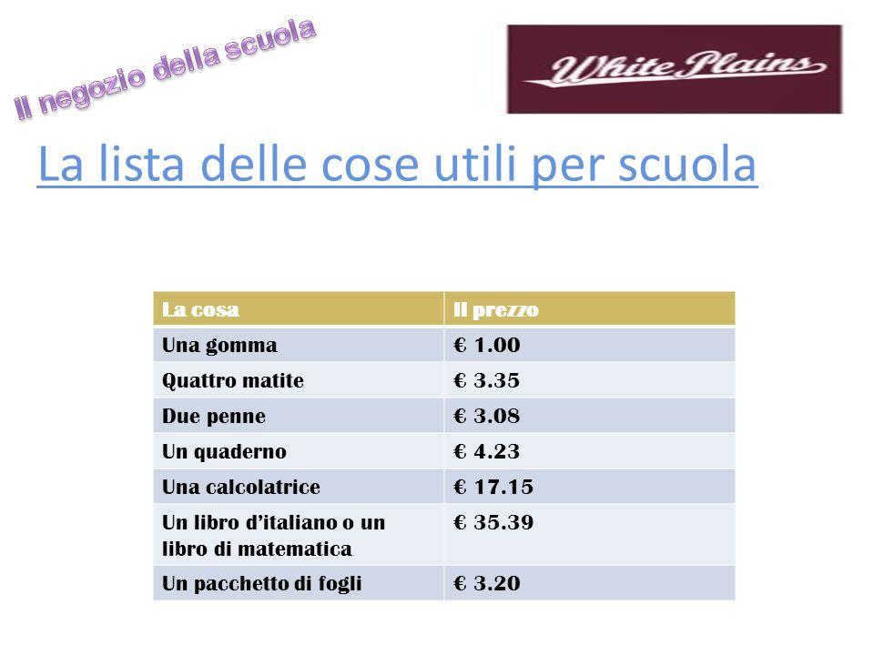 Un negozio a scuola Ci sono i gruppi di tre': Persona A: school store worker, must give prices!!.
