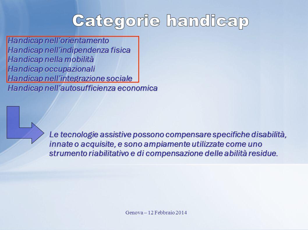 Handicap nell'orientamento Handicap nell'indipendenza fisica Handicap nella mobilità Handicap occupazionali Handicap nell'integrazione sociale Handica