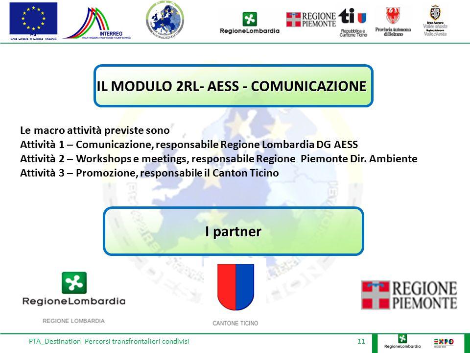 FESR Fondo Europeo di Sviluppo Regionale PTA_Destination Percorsi transfrontalieri condivisi 11 IL MODULO 2RL- AESS - COMUNICAZIONE Le macro attività