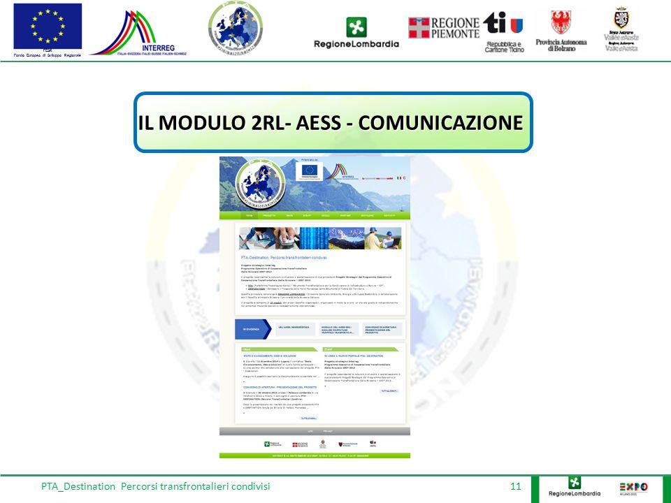 FESR Fondo Europeo di Sviluppo Regionale PTA_Destination Percorsi transfrontalieri condivisi 11 IL MODULO 2RL- AESS - COMUNICAZIONE