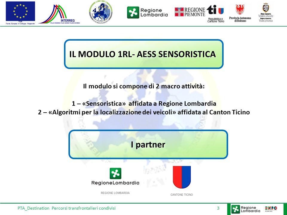FESR Fondo Europeo di Sviluppo Regionale PTA_Destination Percorsi transfrontalieri condivisi 3 IL MODULO 1RL- AESS SENSORISTICA Il modulo si compone d