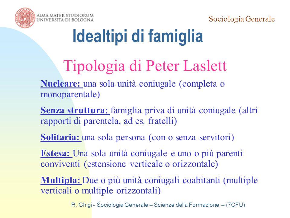 Sociologia Generale R. Ghigi - Sociologia Generale – Scienze della Formazione – (7CFU) Idealtipi di famiglia Tipologia di Peter Laslett Nucleare: una