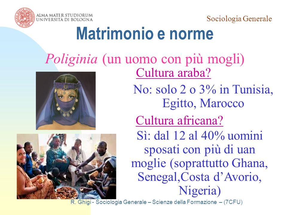 Sociologia Generale R. Ghigi - Sociologia Generale – Scienze della Formazione – (7CFU) Matrimonio e norme Poliginia (un uomo con più mogli) Cultura af