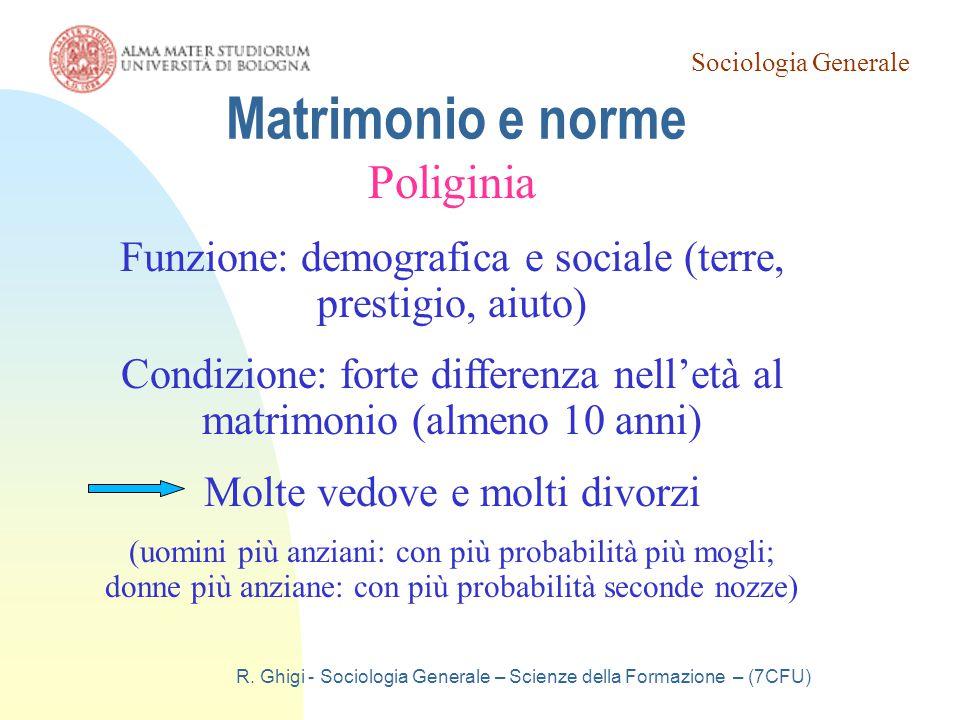 Sociologia Generale R. Ghigi - Sociologia Generale – Scienze della Formazione – (7CFU) Matrimonio e norme Poliginia Funzione: demografica e sociale (t