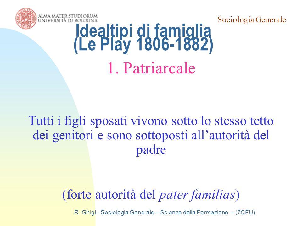 Sociologia Generale R. Ghigi - Sociologia Generale – Scienze della Formazione – (7CFU) Idealtipi di famiglia (Le Play 1806-1882) 1. Patriarcale Tutti