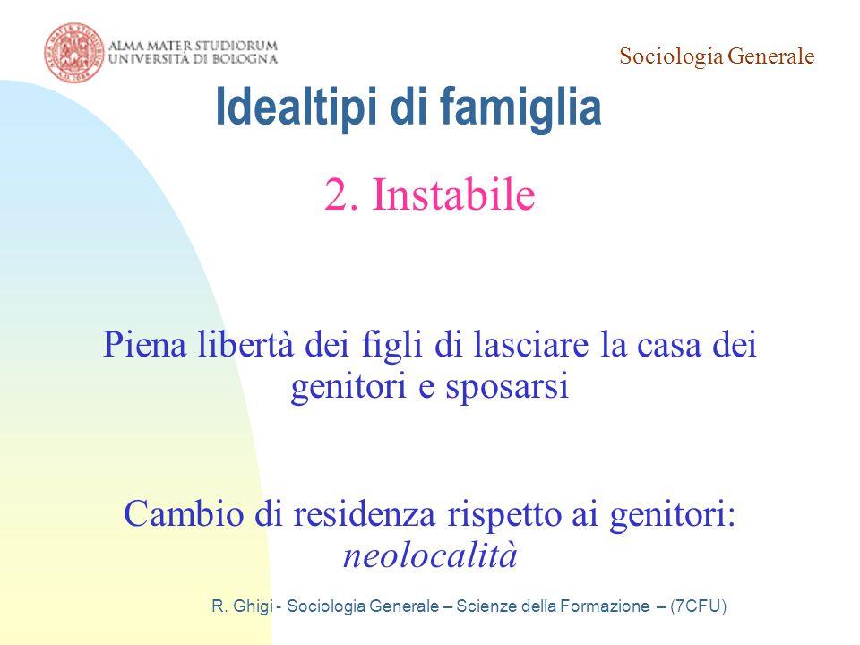 Sociologia Generale R. Ghigi - Sociologia Generale – Scienze della Formazione – (7CFU) Idealtipi di famiglia 2. Instabile Piena libertà dei figli di l