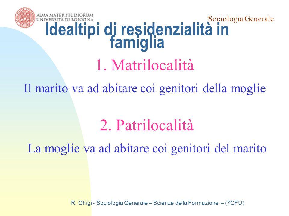 Sociologia Generale R. Ghigi - Sociologia Generale – Scienze della Formazione – (7CFU) Idealtipi di residenzialità in famiglia 1. Matrilocalità Il mar