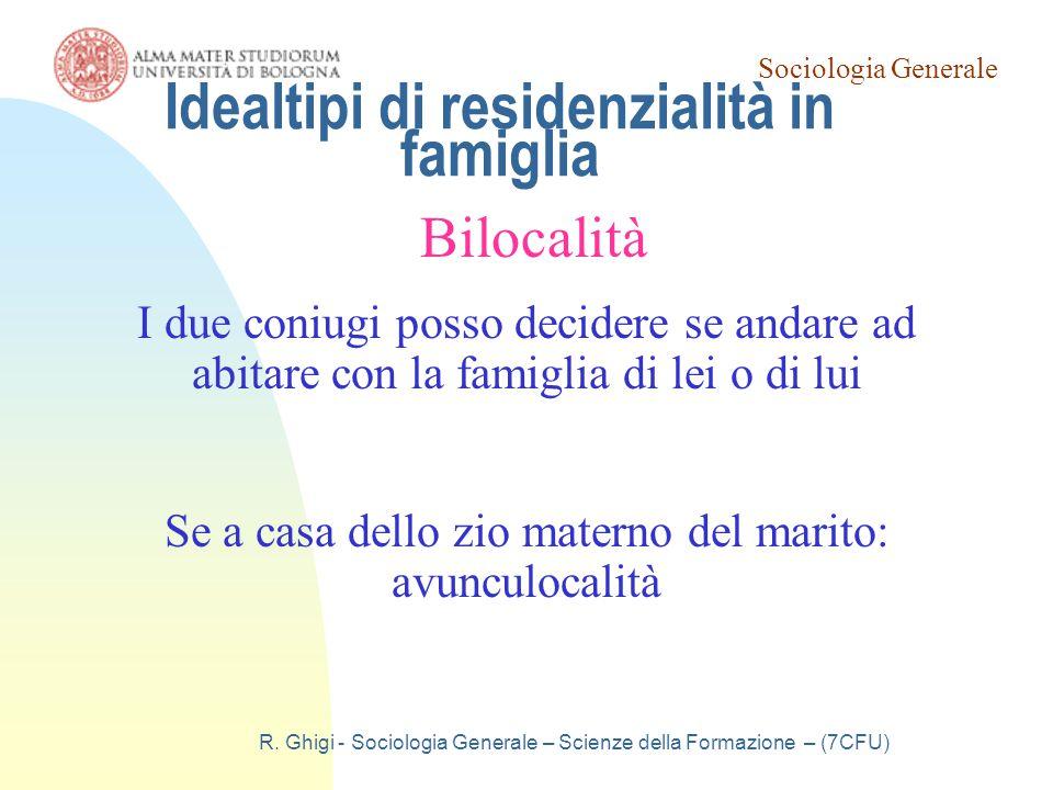 Sociologia Generale R. Ghigi - Sociologia Generale – Scienze della Formazione – (7CFU) Idealtipi di residenzialità in famiglia Bilocalità I due coniug