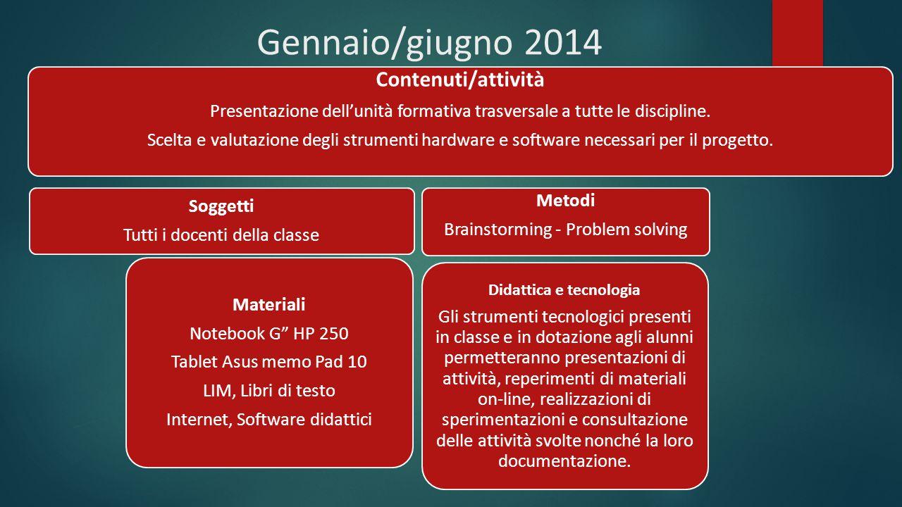 Gennaio/giugno 2014 Contenuti/attività Presentazione dell'unità formativa trasversale a tutte le discipline. Scelta e valutazione degli strumenti hard