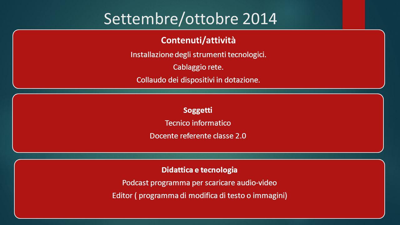 Settembre/ottobre 2014 Contenuti/attività Installazione degli strumenti tecnologici. Cablaggio rete. Collaudo dei dispositivi in dotazione. Soggetti T