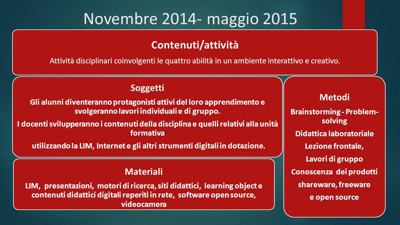 Novembre 2014- maggio 2015 Contenuti/attività Attività disciplinari coinvolgenti le quattro abilità in un ambiente interattivo e creativo. Soggetti Gl