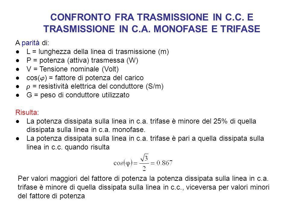 CONFRONTO FRA TRASMISSIONE IN C.C. E TRASMISSIONE IN C.A. MONOFASE E TRIFASE A parità di: ●L = lunghezza della linea di trasmissione (m) ●P = potenza