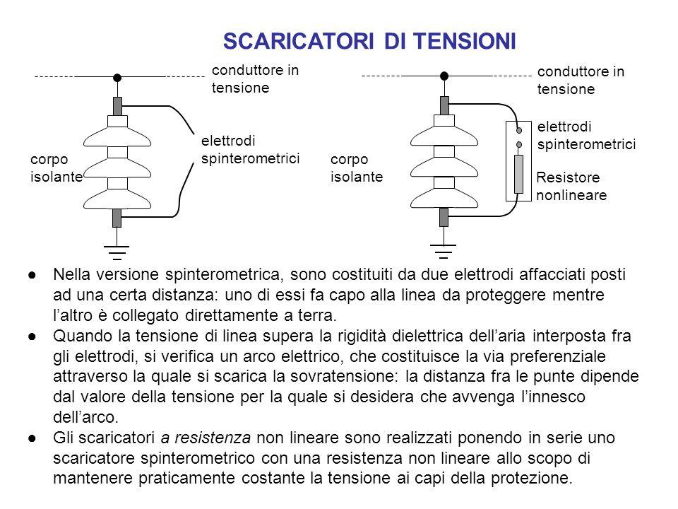SCARICATORI DI TENSIONI ●Nella versione spinterometrica, sono costituiti da due elettrodi affacciati posti ad una certa distanza: uno di essi fa capo