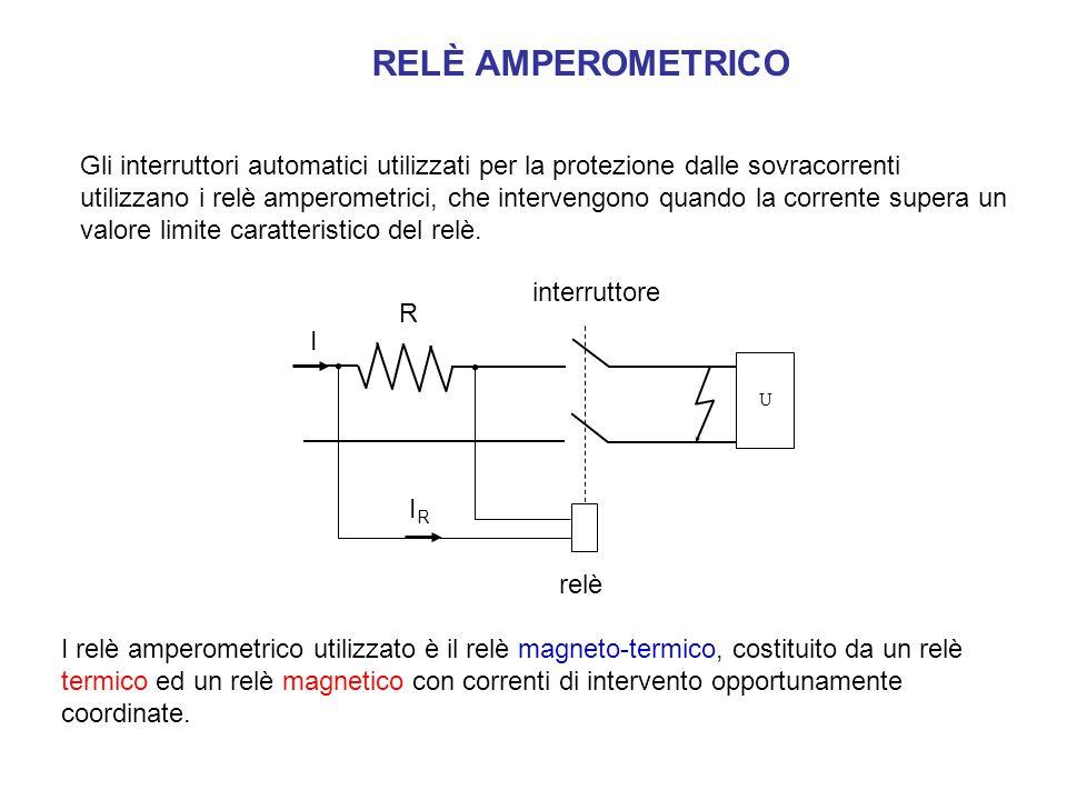 RELÈ AMPEROMETRICO Gli interruttori automatici utilizzati per la protezione dalle sovracorrenti utilizzano i relè amperometrici, che intervengono quan