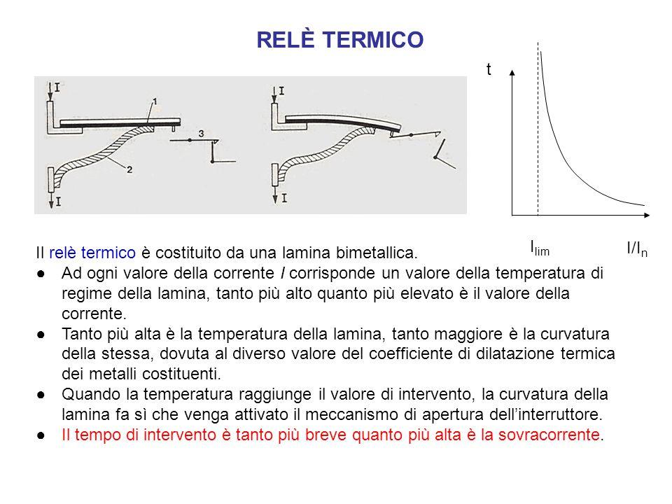 Il relè termico è costituito da una lamina bimetallica. ●Ad ogni valore della corrente I corrisponde un valore della temperatura di regime della lamin