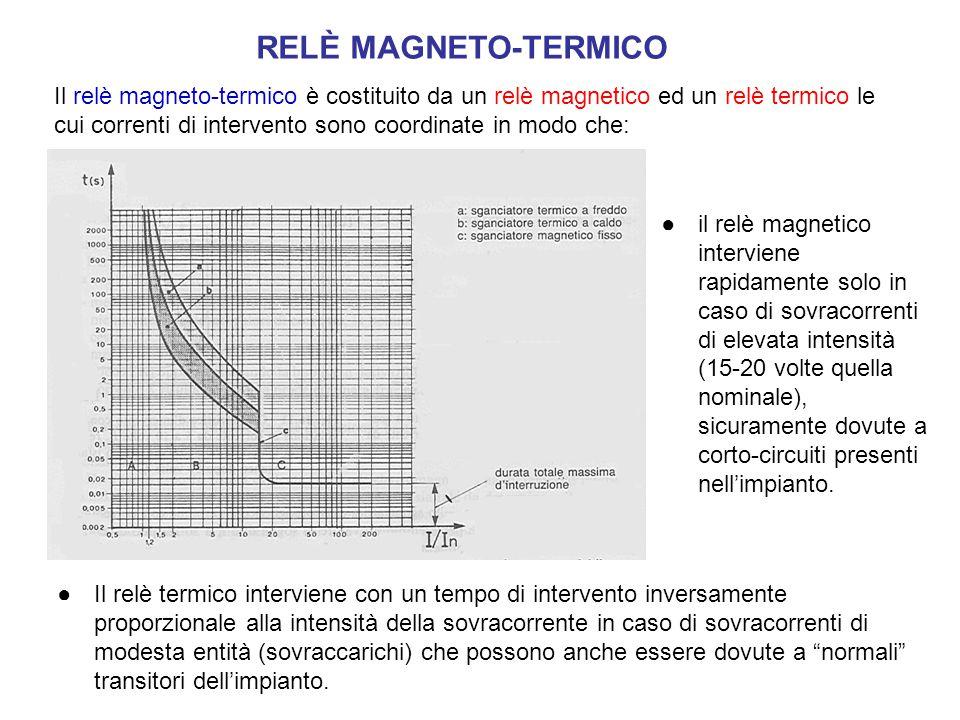 RELÈ MAGNETO-TERMICO Il relè magneto-termico è costituito da un relè magnetico ed un relè termico le cui correnti di intervento sono coordinate in mod