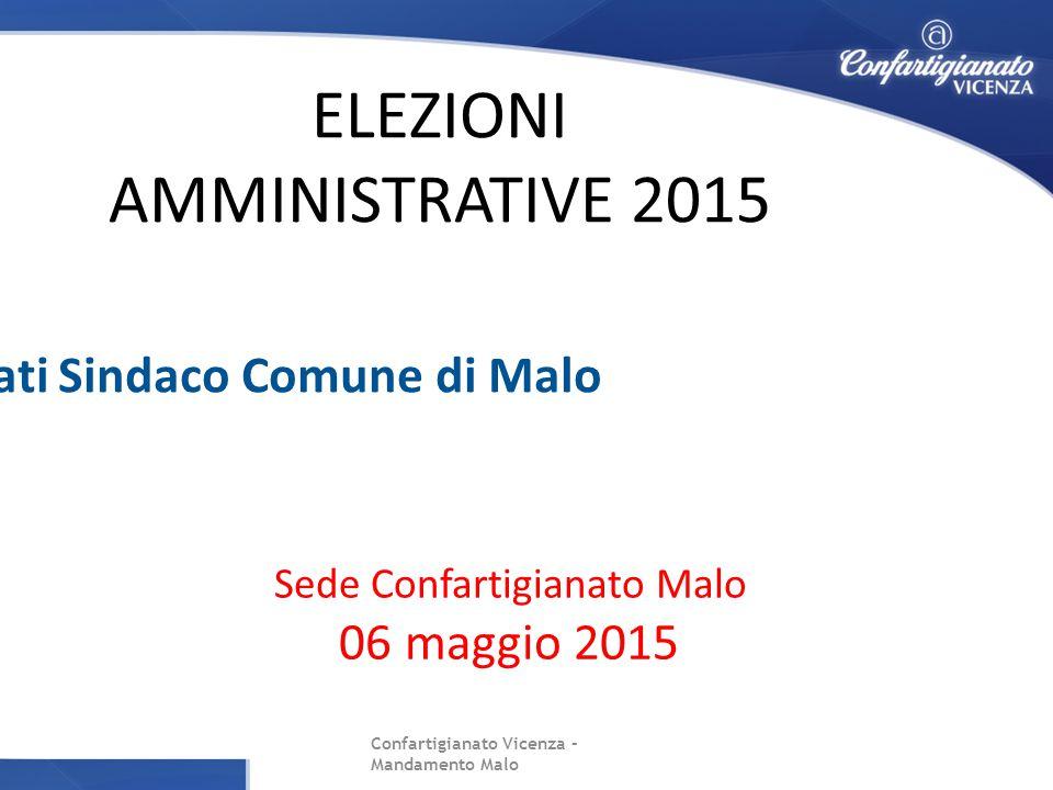 Confartigianato Vicenza – Mandamento Malo Sede Confartigianato Malo 06 maggio 2015 ELEZIONI AMMINISTRATIVE 2015 Incontro con candidati Sindaco Comune