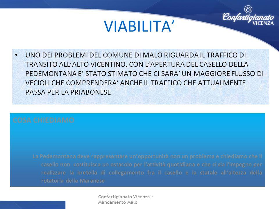 VIABILITA' UNO DEI PROBLEMI DEL COMUNE DI MALO RIGUARDA IL TRAFFICO DI TRANSITO ALL'ALTO VICENTINO.