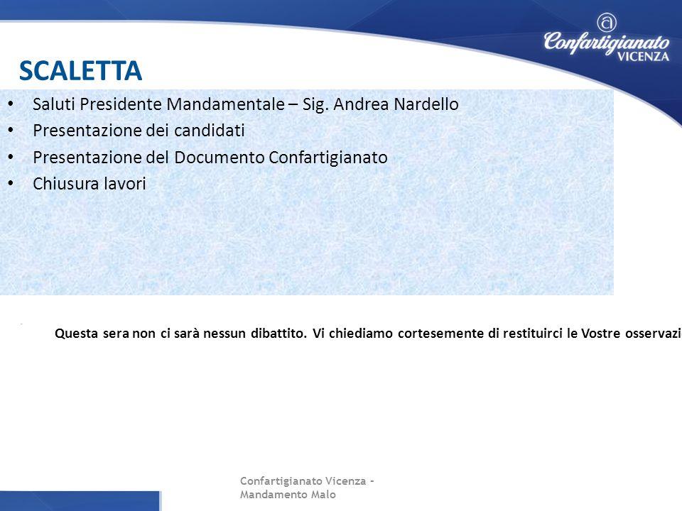 SCALETTA Confartigianato Vicenza – Mandamento Malo Saluti Presidente Mandamentale – Sig. Andrea Nardello Presentazione dei candidati Presentazione del