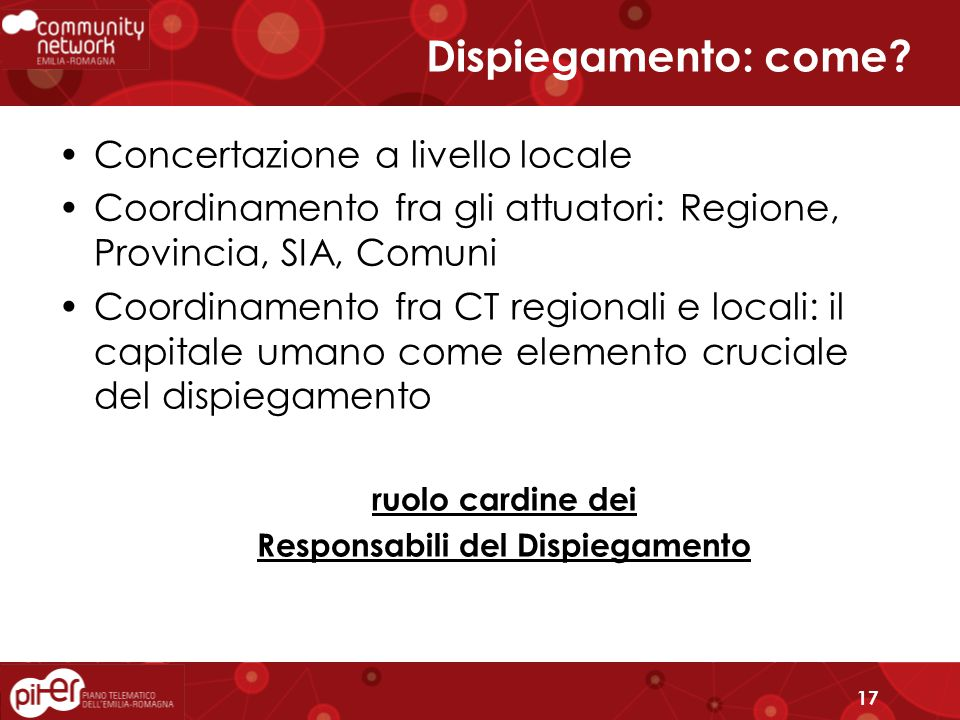 17 Dispiegamento: come.