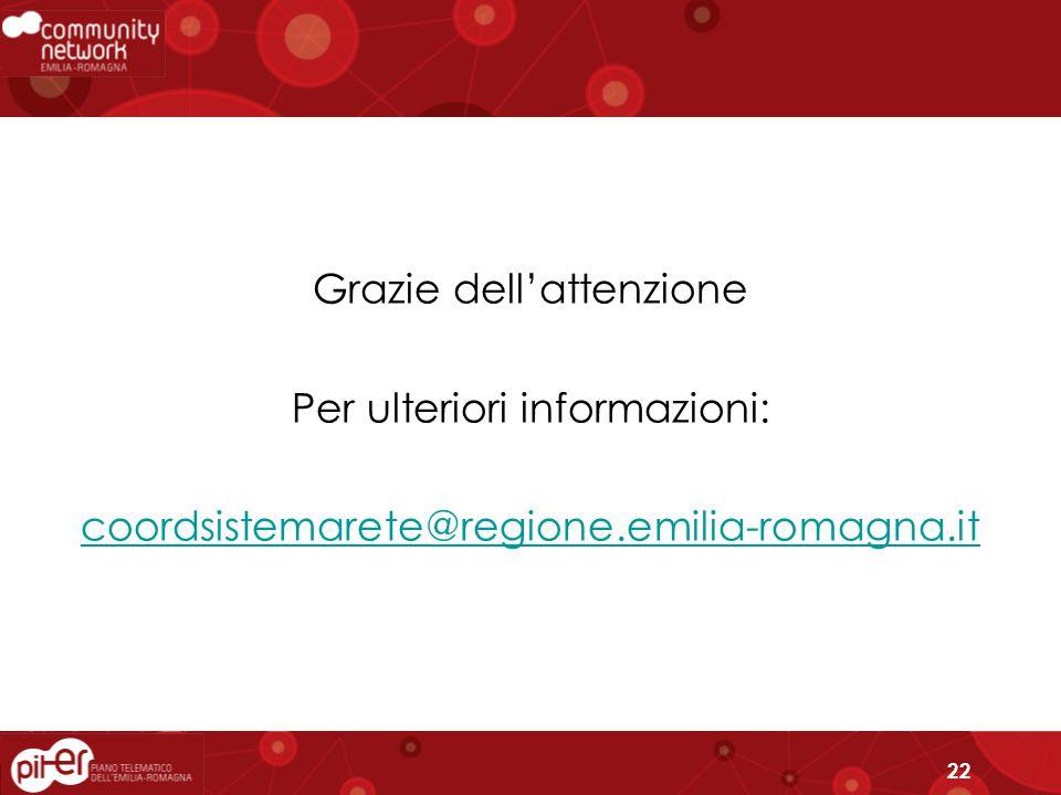 22 Grazie dell'attenzione Per ulteriori informazioni: coordsistemarete@regione.emilia-romagna.it